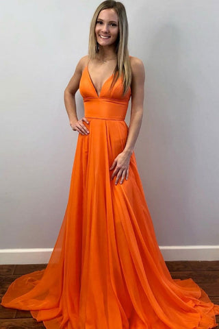 Simple V Neck Orange Chiffon Long Prom Dress, Long Orange Formal Graduation Evening Dress