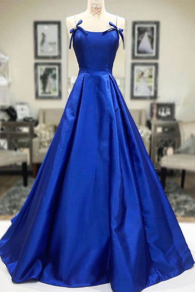 Simple A Line Blue Satin Long Prom Dress, Blue Formal Dress, Cheap Blue Evening Dress