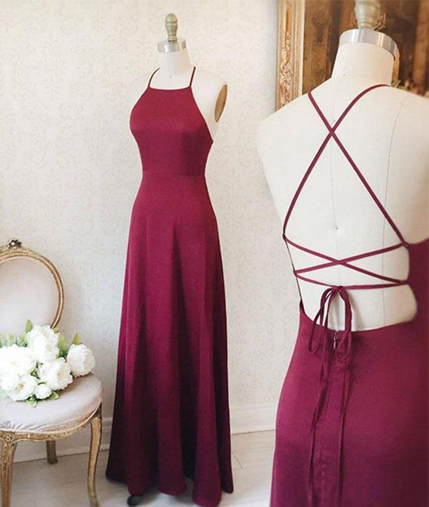 Simple A Line Backless Burgundy Satin Long Prom Dresses, Burgundy Formal Dresses, Burgundy Evening Dresses