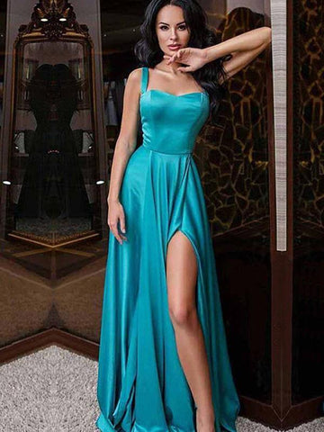 Simple A Line Straps Floor Length Satin Long Prom Dresses with High Slit, Cheap Satin Formal Dresses, Evening Dresses
