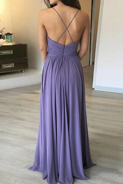 Simple A Line V Neck Backless Long Lavender Prom Dress, Backless Lavender Bridesmaid Dress, V Neck Backless Lavender Formal Graduation Evening Dress