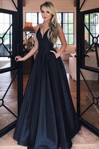 Simple A Line V Neck Black Satin Long Prom Dress with Pocket, V Neck Black Formal Graduation Evening Dress