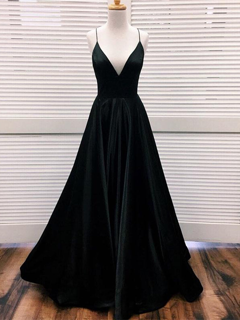Simple A Line V Neck Black Satin Long Prom Dresses, Black Formal Dresses, Evening Dresses 2019