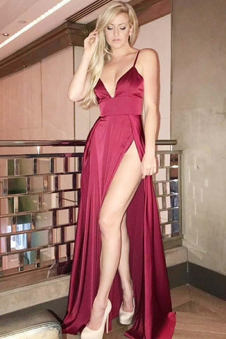 Simple A Line V Neck Burgundy Satin Long Prom Dress with High Split, V Neck Burgundy Formal Graduation Evening Dress