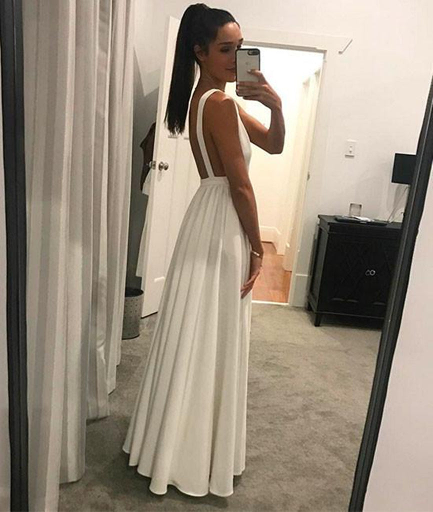 Simple A Line V Neck Floor Length Backless White Long Prom Dresses, White V Neck Formal Dresses, White Graduation Dresses, Evening Dresses