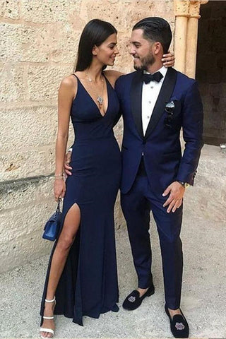 Simple A Line V Neck Mermaid Navy Blue Long Prom Dresses with Leg Slit, V Neck Navy Blue Formal Dresses, Evening Dresses