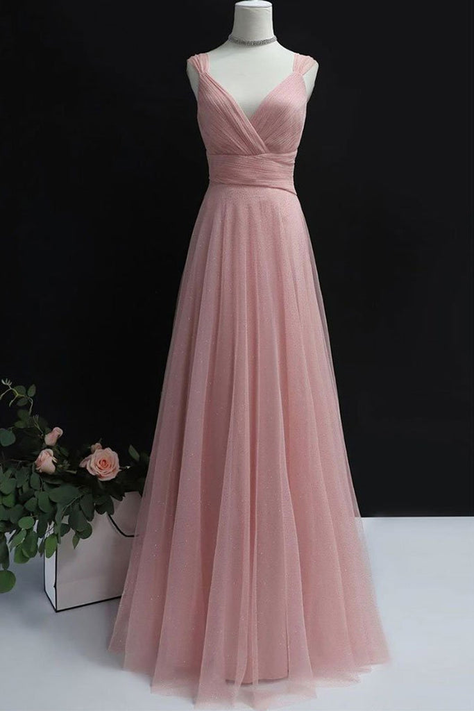 Simple A Line V Neck Pink Tulle Long Prom Dress Bridesmaid Dress, V Neck Pink Formal Dress, Pink Evening Dress