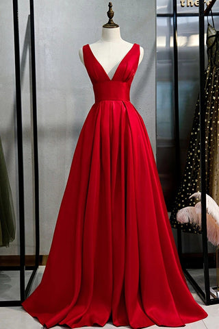 Simple A Line V Neck and V Back Red Satin Long Prom Dress, Cheap V Neck Red Formal Graduation Evening Dress