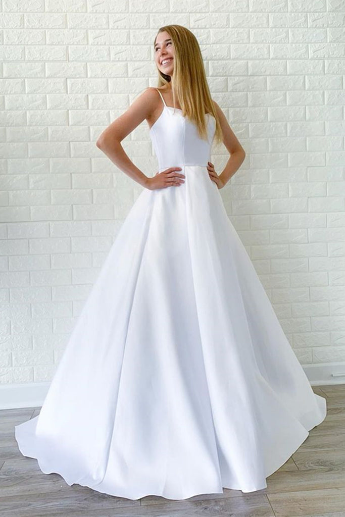 Simple A Line White Satin Long Wedding Prom Dress, Cheap White Formal Graduation Evening Dress