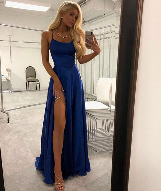 delicate colors rich and magnificent distinctive style Simple Blue Satin Long Prom Dresses With Slit, Blue Formal Dresses, Evening  Dresses