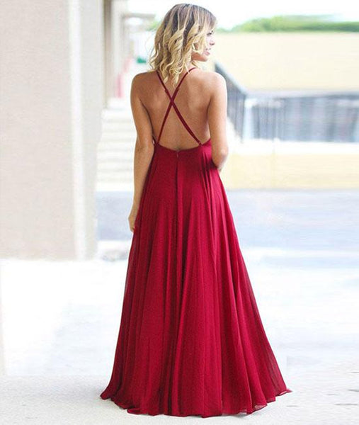 Simple Burgundy A Line Backless Chiffon Long Prom Dresses, Burgundy Backless Formal Dresses, Evening Dresses