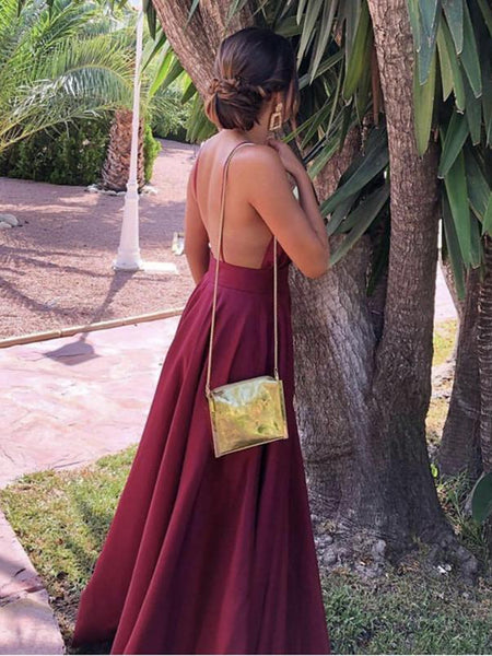 Simple Burgundy V Neck Backless Satin Long Prom Dresses, V Neck Burgundy Formal Dresses, Burgundy Evening Dresses
