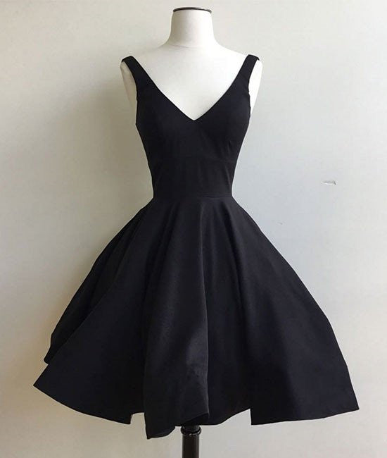 Simple Cute V Neck Short Black Prom Dresses, Cute Black Homecoming ...