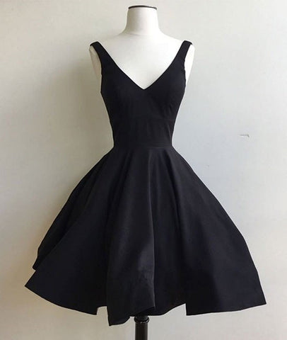 Simple Cute V Neck Short Black Prom Dresses, Cute Black Homecoming Dresses, Graduation Dresses