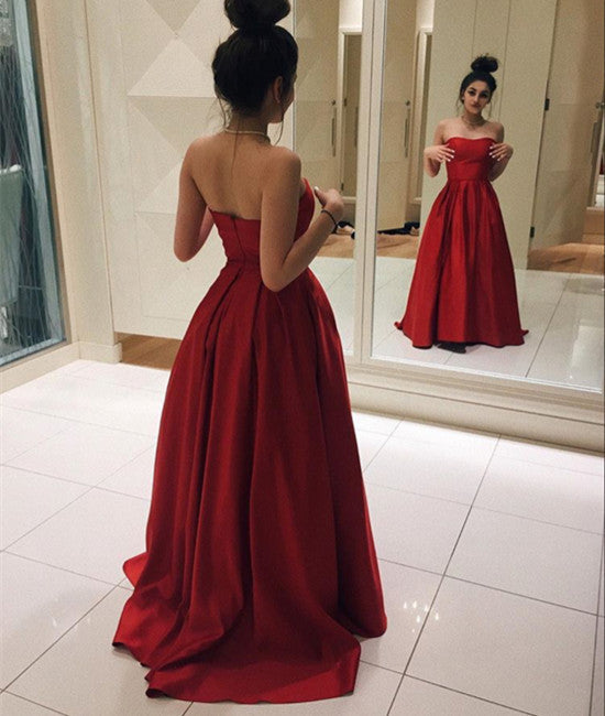 Simple Fluffy Red Prom Dresses, Red Formal Dresses, Red Evening Dresses