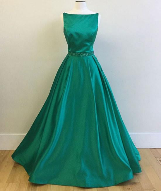 Simple Green Satin Long Prom Dress, Green Formal Dress, Green Graduation Dress, Green Evening Dress