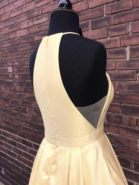 Simple Halter Yellow Satin Long Prom Dresses 2019, Yellow Formal Dresses Long Evening Dresses