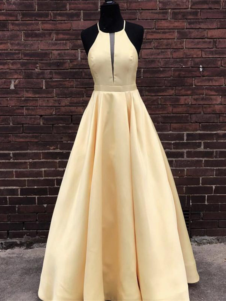 Simple Halter Yellow Satin Long Prom Dresses 2019 Yellow Formal Dresses Long Evening Dresses