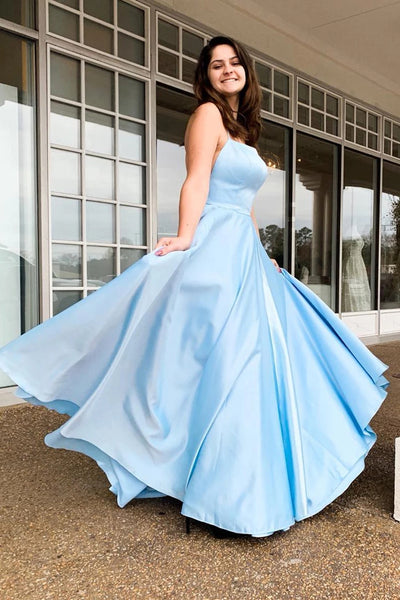 Simple Light Blue Backless Satin Long Prom Dress, Backless Light Blue Formal Dress, Light Blue Evening Dress