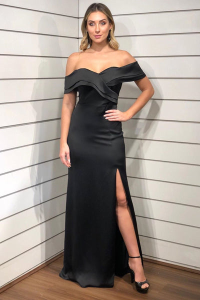 Simple Off Shoulder Black Long Prom Dress with Side Slit, Off Shoulder Black Formal Graduation Evening Dress