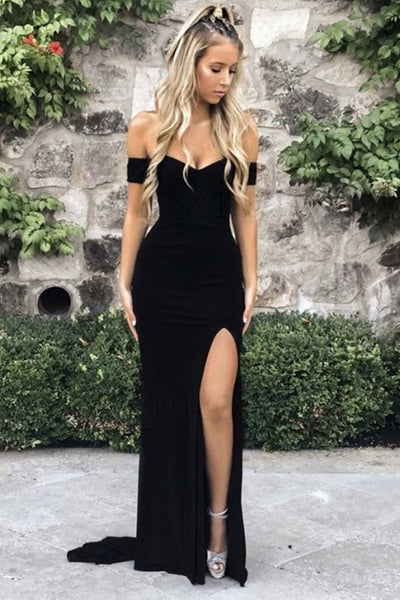 Simple Off Shoulder Mermaid Black Prom Dress with Leg Slit, Off Shoulder Black Formal Dress, Mermaid Black Evening Dress