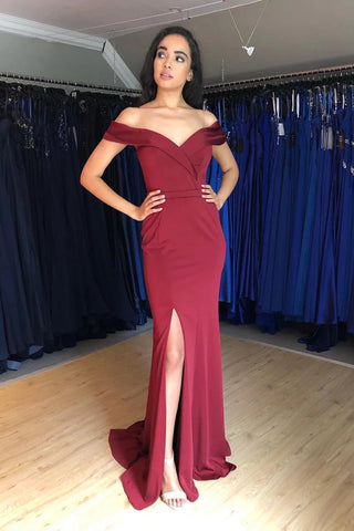 Simple Off Shoulder Mermaid Burgundy Satin Long Prom Dress with Side Slit, Off Shoulder Mermaid Burgundy Formal Graduation Evening Dress