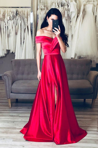Simple Off Shoulder Red Satin Long Prom Dresses with Leg Slit, Off the Shoulder Formal Dresses, Red Evening Dresses
