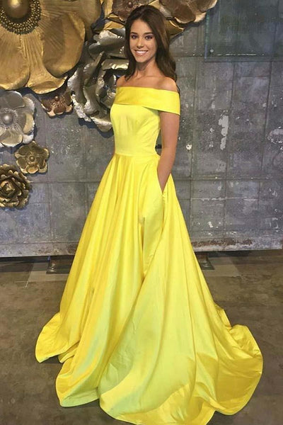 Simple Off the Shoulder Yellow Satin Long Prom Dress with Pockets, Off Shoulder Yellow Formal Dress, Yellow Evening Dress