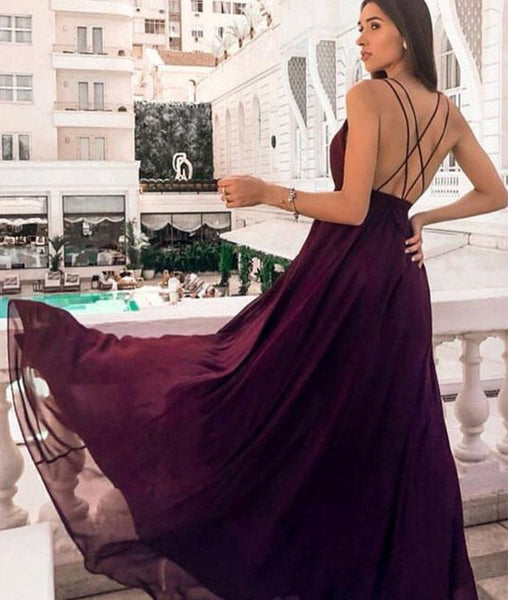 Simple Purple Backless Chiffon Long Prom Dress with High Slit, Purple Backless Formal Graduation Evening Dress