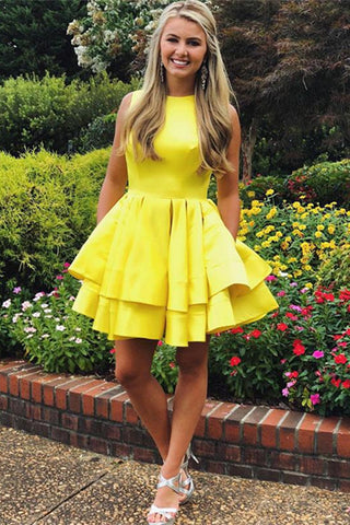 Simple Round Neck Layered Yellow Short Prom Dresses, Yellow Layered Homecoming Dresses, Yellow Formal Dresses, Evening Dresses