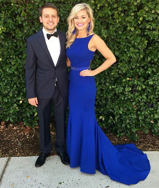 Simple Round Neck Train Blue Prom Dresses, Blue Formal Dresses