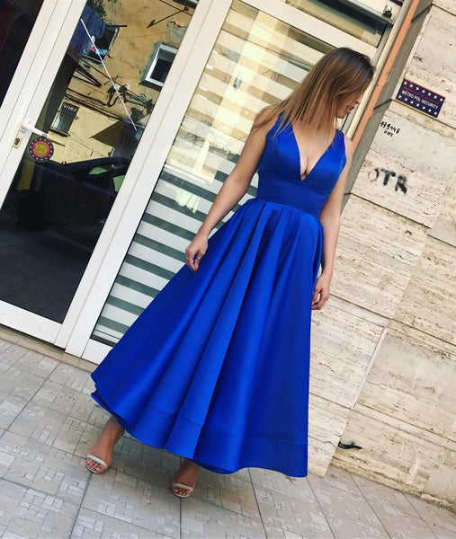 Simple Royal Blue V Neck Satin Ankle Length Prom Dress, Royal Blue Formal Dress, Royal Blue Homecoming Dress