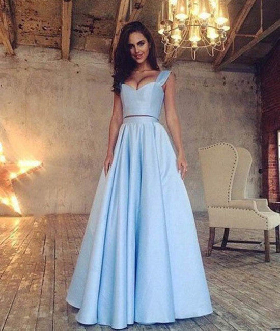 Simple Two Pieces Long Blue Prom Dresses, Formal Dresses