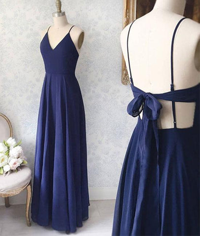 Simple V Neck Backless Blue Long Prom Dresses, V Neck Blue Formal Evening Dresses, Blue Graduation Dresses
