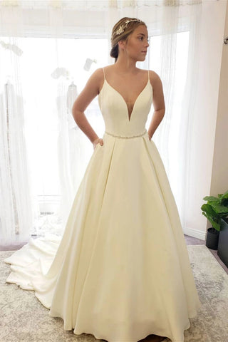 Simple V Neck Backless Ivory Wedding Dress with Train, V Neck Backless Ivory Long Prom Dress, Backless Ivory Formal Evening Dress