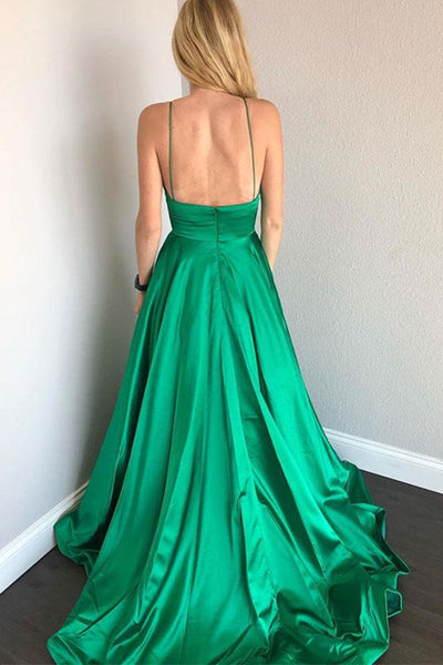 Simple V Neck Backless Satin Green Long Prom Dresses, Backless Green Formal Dresses, Green Evening Dresses