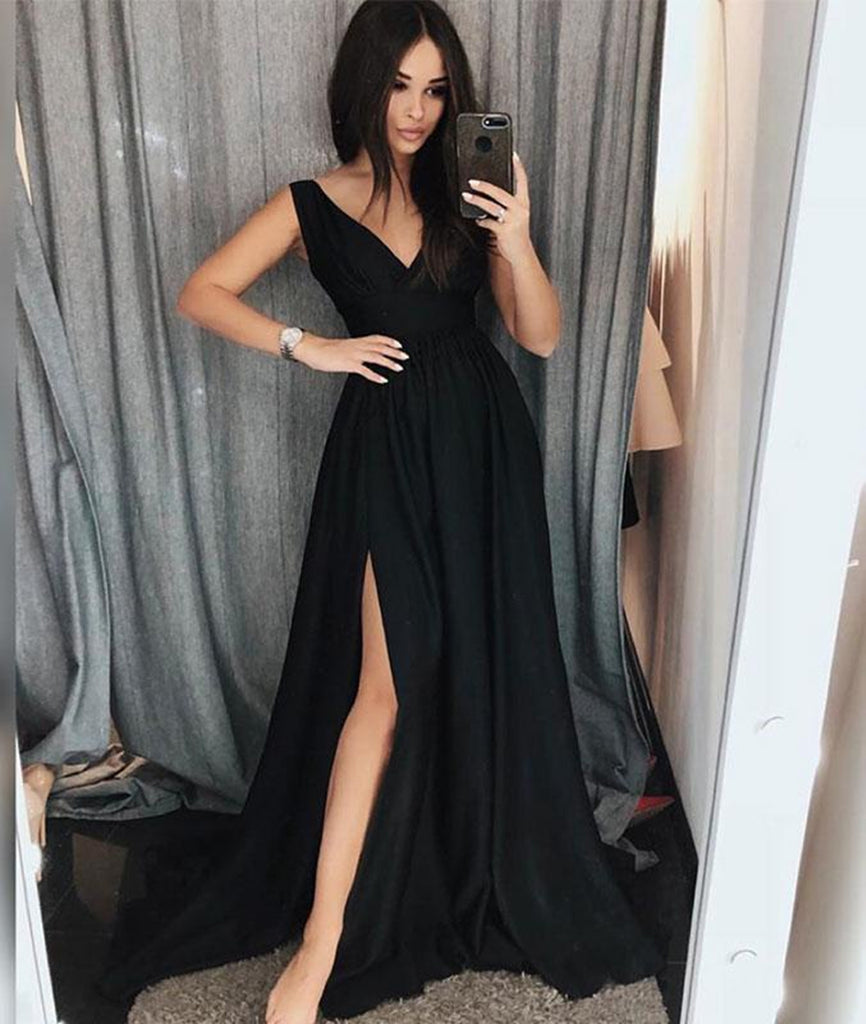 Simple V Neck Black Long Prom Dresses with Side Slit, Black Formal Evening Dresses, Black Graduation Dresses