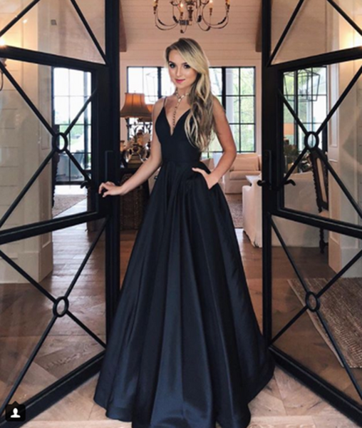 Simple V Neck Black Satin Prom Dress, Black Formal Dress, V Neck Evening Dress