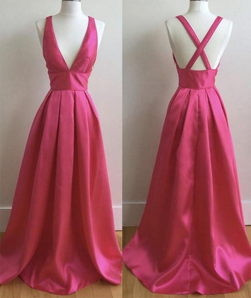 Simple V Neck Pleated Satin Long Prom Dresses, V Neck Evening Dresses, Formal Dresses, Graduation Dresses