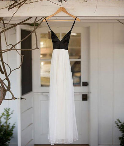 Simple V Neck White Chiffon Backless Black Top Long Prom Dresses, V Neck Long Evening Dresses, Formal Dresses