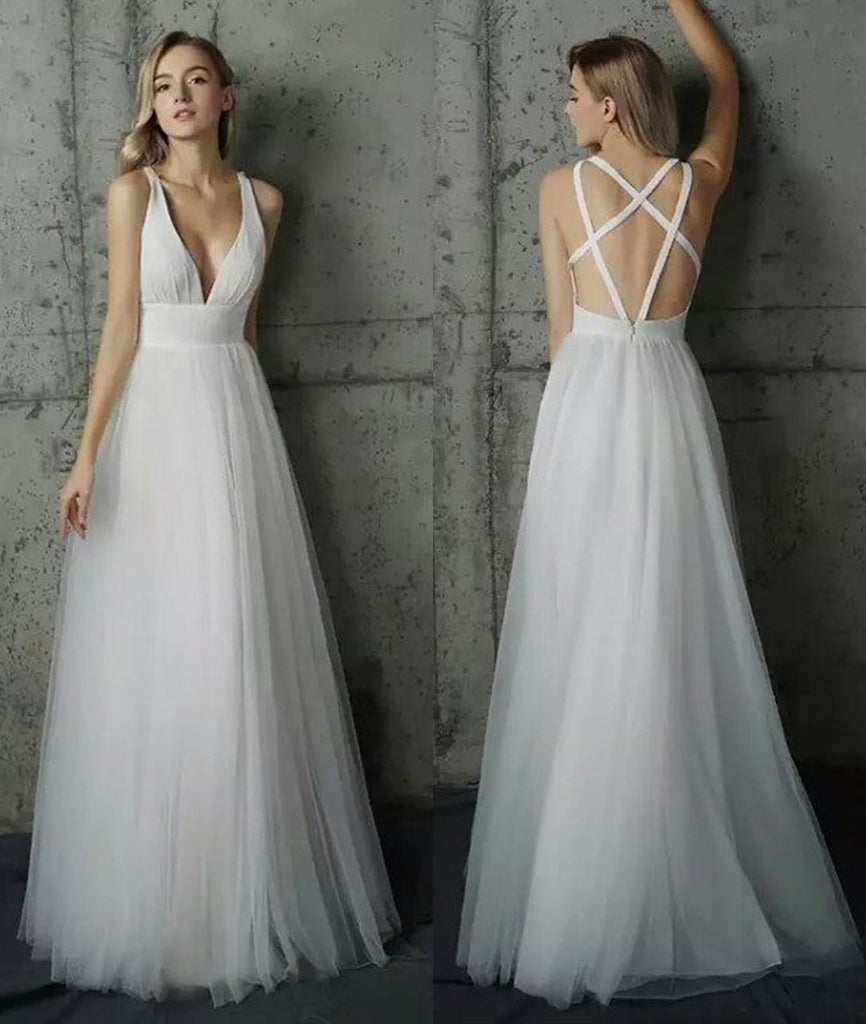 Simple V Neck White Long Prom Dresses, V Neck White Formal Dresses Evening Dresses, V Neck White Graduation Dresses