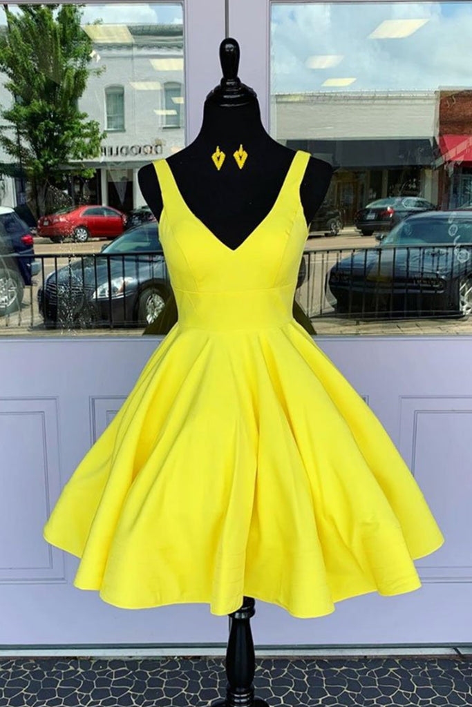 Simple V Neck Yellow Short Prom Dress, V Neck Yellow Homecoming Dress, Yellow Graduation Formal Evening Dress