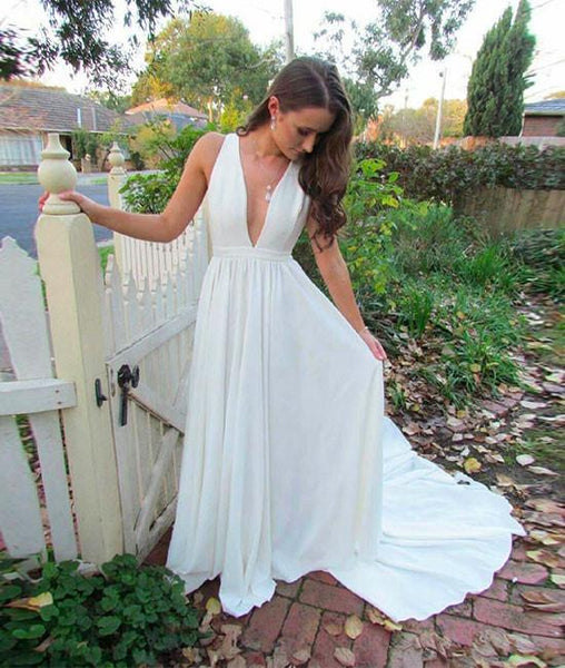 Simple White V Neck Long Prom Dress with Train, V Neck White Formal Dress, White Evening Dress