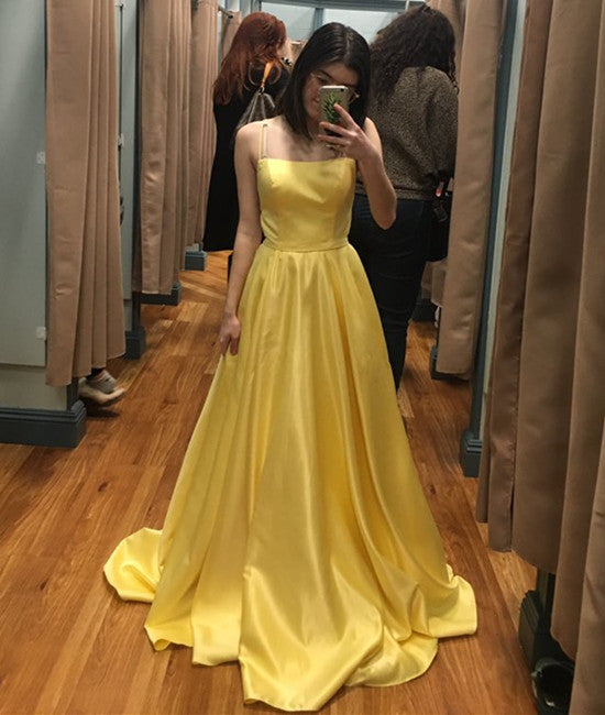 bafda5f971 Simple Yellow A Line Spaghetti Straps Satin Long Prom Dress