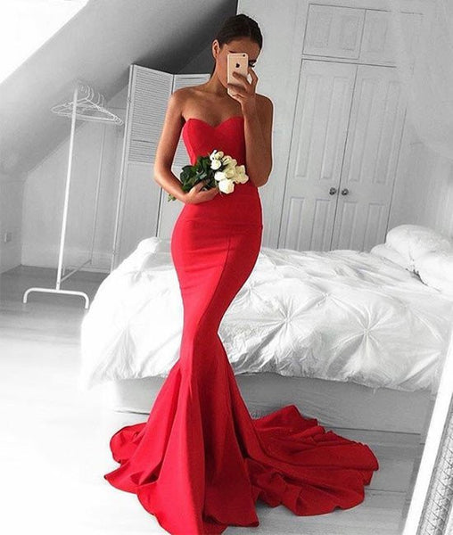 Glamorous Sweetheart Neck Mermaid Red Prom Dresses, Ball Gown, Red Evening Dresses