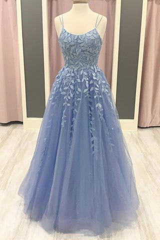 Spaghetti Straps Blue Lace Long Prom Dress, Blue Lace Formal Graduation Evening Dress