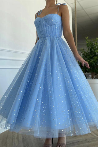 Spaghetti Straps Sequins Blue Tea Length Prom Dress, Blue Tea length Formal Homecoming Dress, Sequins Evening Dress