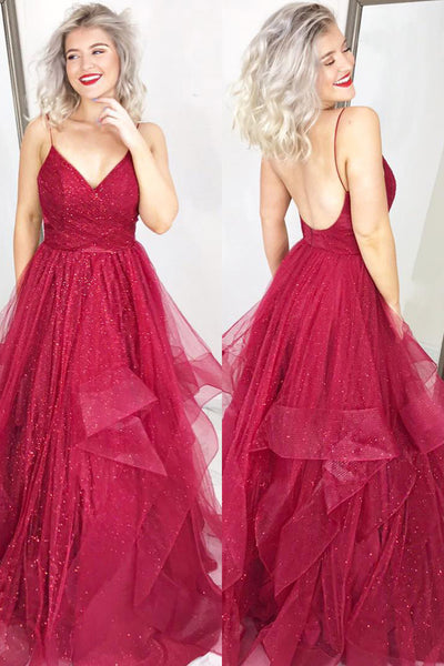 Sparkly A Line V Neck Backless Burgundy Long Prom Dresses, Burgundy Formal Dresses, Evening Dresses 2019