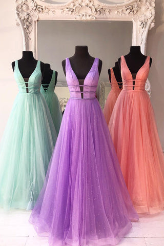 Sparkly A Line V Neck and V Back Mint Green/Lilac/Coral Prom Dresses, Mint Green/Lilac/Coral Formal Graduation Evening Dresses