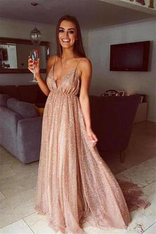 Sparkly V Neck Spaghetti Straps Backless Long Prom Dresses, Backless Formal Dresses, Evening Dresses
